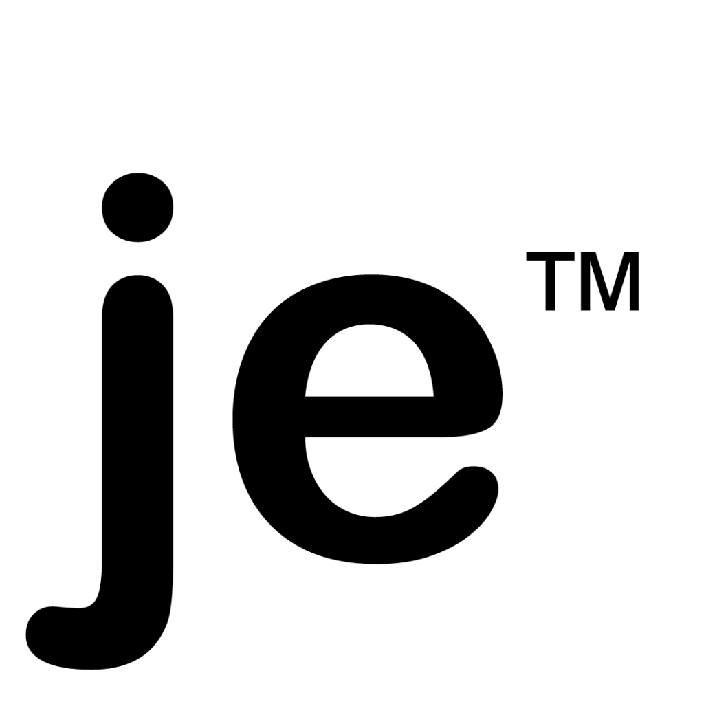 je avec le symbole trademark en noir et blanc