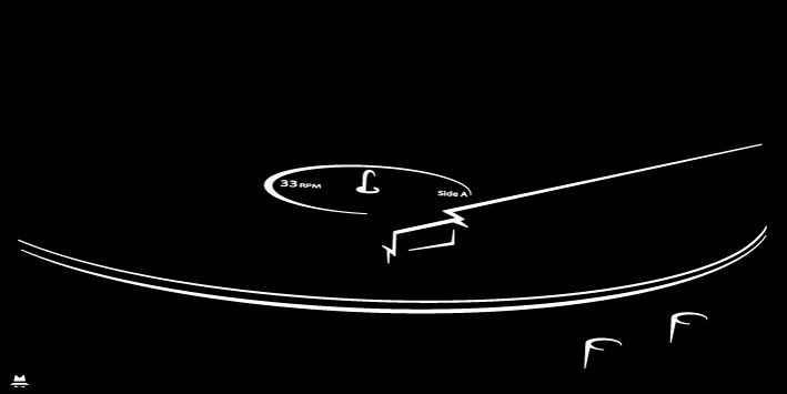 platine vinyle vintage noir et blanc